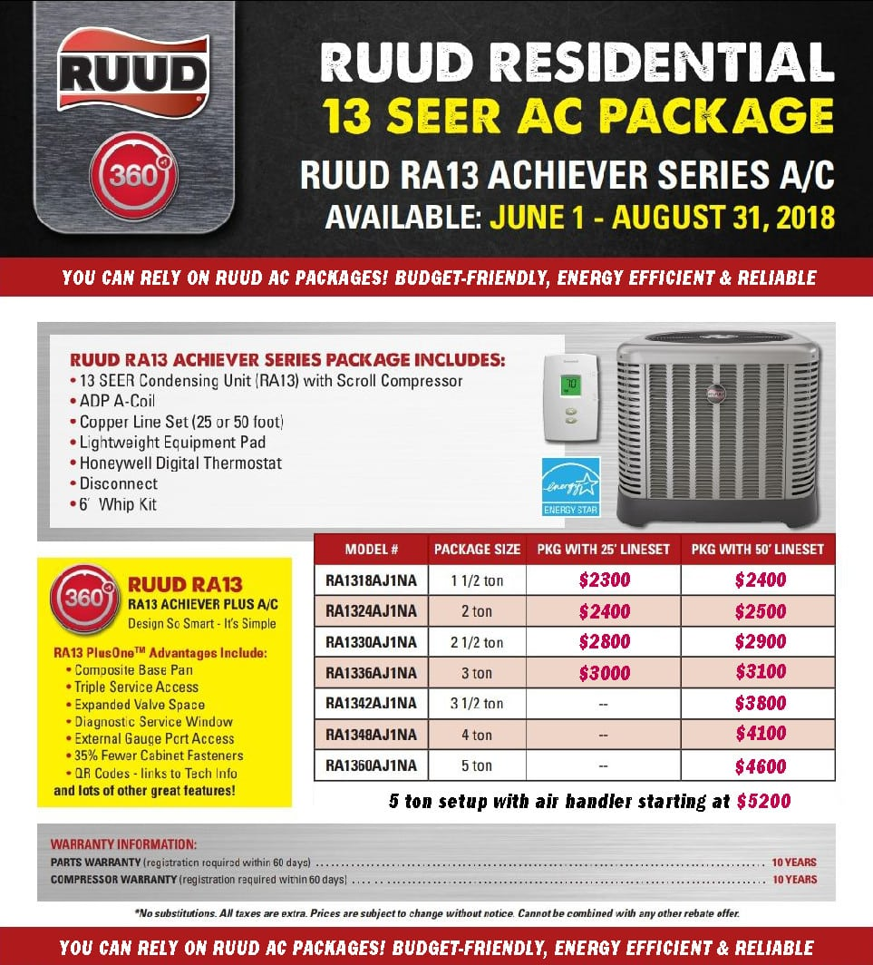 ruud air conditioner prices